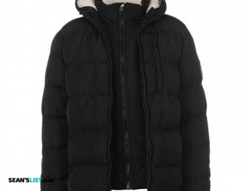 BLACK 2 Zip Winter Coat