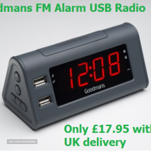 Goodmans Alarm Clock with FM Radio and 2 x USB