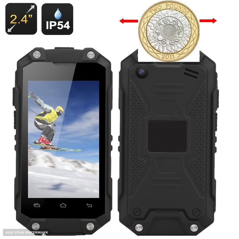 Rugged 2.4inch Mobile Phone - Android 4.4, Rear Camera, Water Resistant with Bluetooth